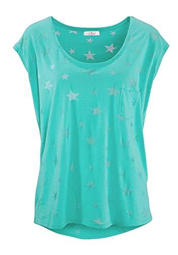 ELFIN Damen T-Shirt Kurzarmshirt Basic Tops Ärmelloses Tee Allover-Sternen Ausbrenner Shirt Sommer Shirt X-Large Frisches Grün