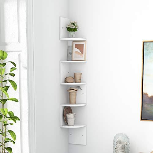 5 Ablagen Eckregal Schweberegal Zickzackregal Holz Weiß für Küche, Schlafzimmer, Wohnzimmer, Arbeitszimmer, Büro, (5 Ablagen Weiß)