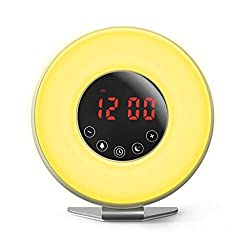 Alarm Clock for Heavy Sleepers Bedroom Sound Desk Clocks Digital Display Snooze Kids FM Radio Nature Sounds Sunrise Touch Control Night Light (Color : C)