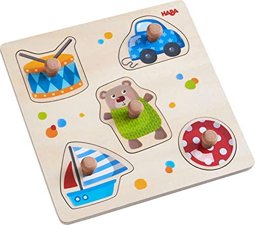 HABA 304608 - Greifpuzzle Spielsachen, 5-teiliges Holzpuzzle mit Spielzeug-Motiven und großen, griffigen Holzknöpfen, Holzspielzeug ab 12 Monaten