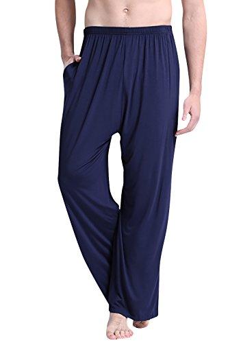 Dolamen Uomo Pantaloni Pigiama Lungo Modal Cotone, Coppie Pantaloncini Casuale Biancheria da Notte Cintura Elastica Tasche Il Tempo Libero di Sonno Yoga Gli Sport (XXXX-Large, Blu)