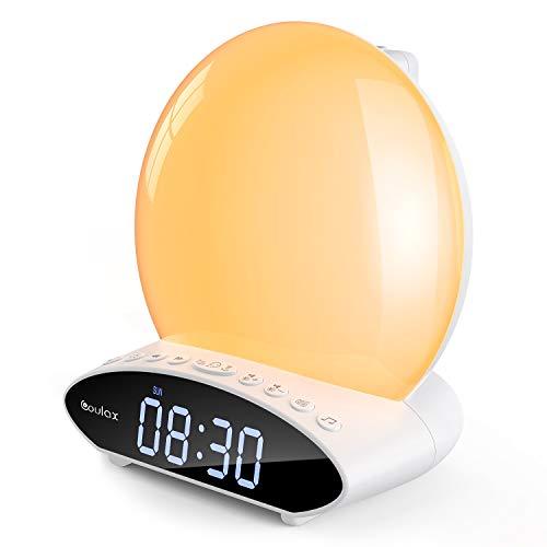 [2020 Upgraded] COULAX Wake Up Licht Lichtwecker mit Projektion Tageslichtwecker Projektionswecker Digital Wecker 2 Alarmen 30 Klängen 7 Farben Alarm Clock Nachttischlampe UKW-Radio Radiowecker