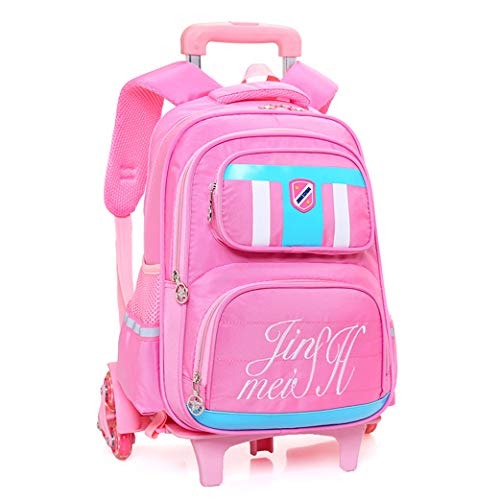 Kids Trolley Backpack-Backpacks for Girls School Bags Casual Daypacks Travel Trolley Backpack with Wheels, With safety reflective strip,Pink,6 Wheels-Pink-Noflash