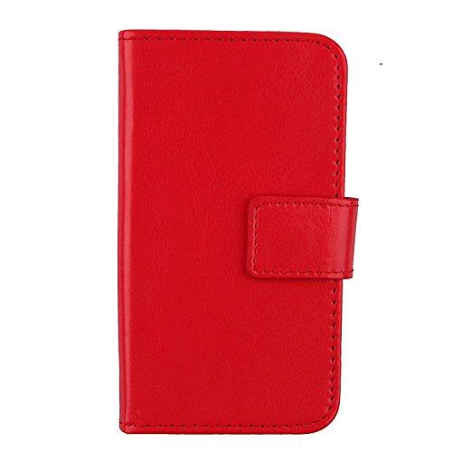 "Gukas Flip PU Billetera Design Para Innjoo Fire 2 LTE 5"" Funda De Carcasa Cartera De Cuero Case Cover Piel (Rojo)"