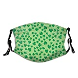 Mascarilla facial de diseño de hojas de trébol con bolsillo de filtro, lavable, pasamontañas, máscara de tela reutilizable con 2 filtros