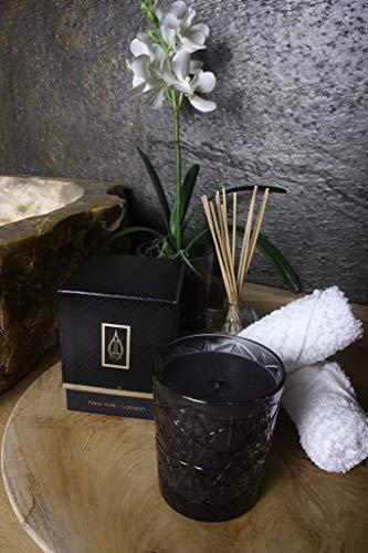 Driada - Vetro Lounge nero con acrilico New York, candela profumata / aromatica, bicchiere...