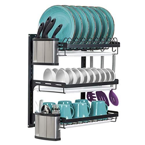 uyoyous Escurreplatos de acero inoxidable de 3 niveles, para montaje en pared, con soporte para tabla de cortar, cesta para cubiertos, color negro