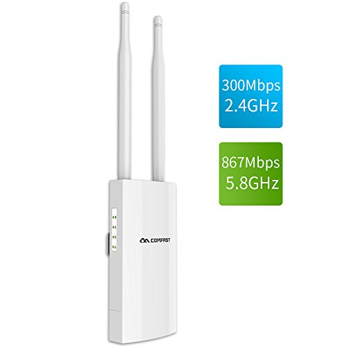COMFAST AC1200 High Power Outdoor Wireless Access Point with Poe,  2.4GHz 300Mbps or 5.8GHz 867Mbps Dual Band 802.11AC Wireless WiFi Access Points/Router/Bridge, Used for Outdoor WiFi Coverage