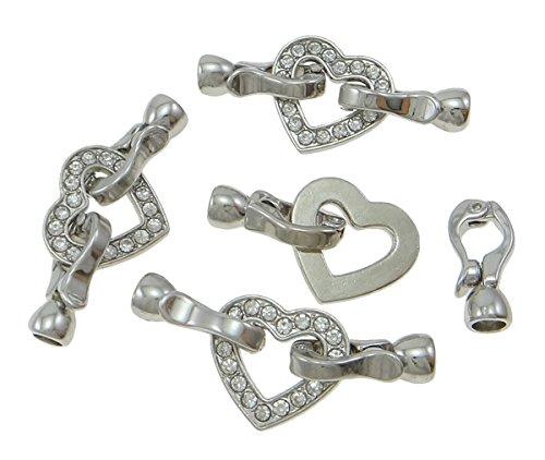 Perlin - 5 STK. Verschluss Verbinder Herz Motiv für 3mm Bänder Klapp Brisuren mit Strasss Schmuckverschluss Kettenverschluss Schmuckzubehör Schmuckherstellung M469 x5