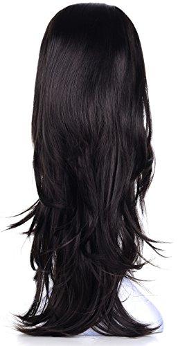 "OneDor 22"" Semi Curly Hair Women Ladies 3/4 Half Wig Premium Japanese Synthetic Kanekalon fibers Wigs with Secured Mesh Head Cap (R2)"