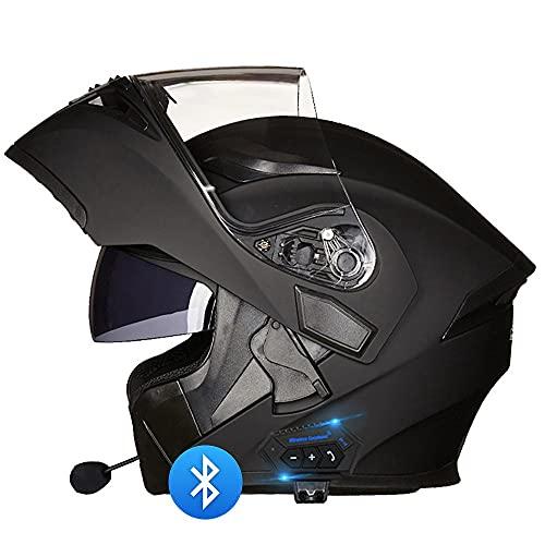 BDTOT Casco de Moto Modular Bluetooth Integrado Casco Anticolisión Unisex para Adultos con Certificación Dot/ECE con Visera Solar Dual Y Altavoces para Contestar Automático