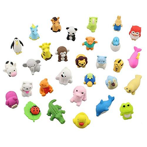 30pcs gomme per animali assortiti set adorabile stile giapponese novità gomme matita regalo educativo bomboniere per ragazzi ragazze bambini (animali)