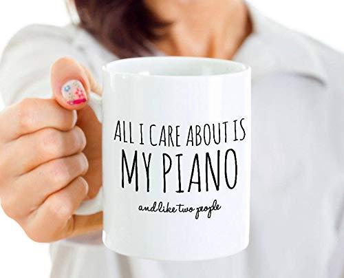 N\A Taza de Piano Divertida, Todo lo Que me Importa es mi Piano y como Dos Personas, Regalo para el Maestro, Regalo Divertido para el Maestro