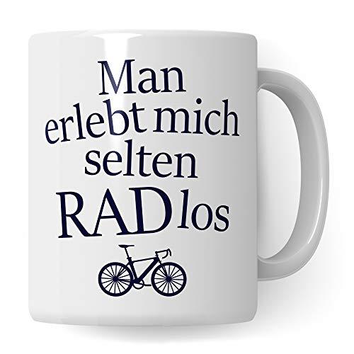 Pagma Druck Fahrrad Tasse lustig, RADlos Geschenk Fahrradfahrer Männer Frauen, Becher Fahrradmotiv Fahrräder, Rennrad Mountainbike Fahrrad, Geschenkideen lustig Radfahren Kaffeetasse