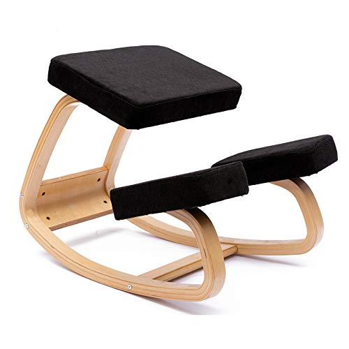 JZGORC Silla ergonómica para arrodillarse - Taburete para arrodillarse de Mejor Postura - Asiento más Grande, Cojines para Las Rodillas - Resistente y cómodo - Taburete ortopédico (Negro)