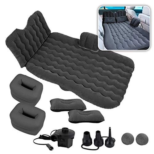 Zone Tech Car Inflatable Air Mattress Back Seat – Pump Kit Premium Quality- Vacation Camping-Sleep Blow Up Pad Car Bed Back Seat Inflatable Air Mattress with 2 Air Pillows Car SUV Universal Fit