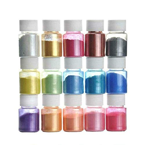 ausuky Mica-Pigment-Pulver, Seife, Kosmetik, Kunstharz, Farbstoff, 15 Farben