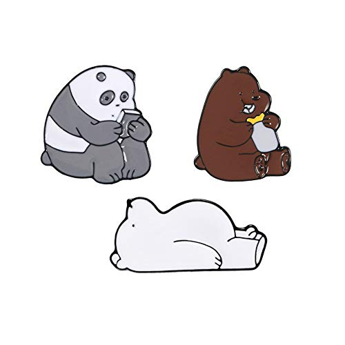 MOTZU 3 Pieces,Bare Metal Enamel Pins for Women & Girls,Bare Bears/Grizzly Panda/Ice Bear-Shaped Brooch, Cute Jewelry Brooches,Animal Brooch for Party,Clothes,Bags,Hats,Scarf