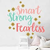 Dosminer Inspirational Quotes Wall Decals, Smart Strong Fearless Colorful Wall Stickers Girls Bedroom, Motivational Saying Wall Posters for Nursery