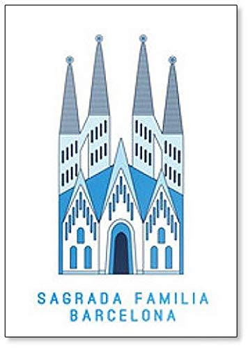 Amazon サグラダ ファミリア バルセロナ 有名なスペイン大聖堂 アートワークイラスト 冷蔵庫マグネット Foto Magnets 冷蔵庫マグネット