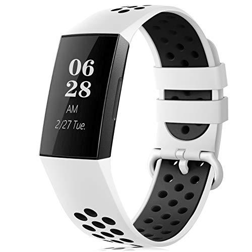RIOROO Correa Compatible para Fitbit Charge 3 Pulsera/Charge 4 Correa para Hombres Mujeres Relojes Banda de Reemplazo Silicona Transpirable Deportivo Pulseras de Repuesto(Sin Reloj)