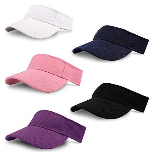 Unisex sport solskydd (5-pack) justerbar keps för tennis, golf, löpning – 5 färger vit, rosa, svart, lila och blå – män kvinnor flickor pojkar utomhus solskärm hatt för skolor och sommaraktiviteter