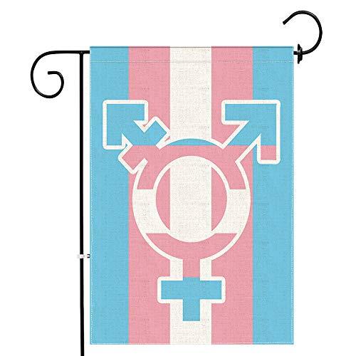 Hexagram Transgender, Gay Pride, Gartenfahne, dekorativ, kleine Regenbogenflaggen für Trans, Gay, langlebig, Jute, doppelseitig 12*18 Transgender