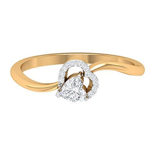 Anillo de diamante en forma de corazón de 4 mm, anillo de halo de diamante 1/4 quilates, anillo de promesa de corazón de diamante, 14K Oro amarillo, Size:EU 54