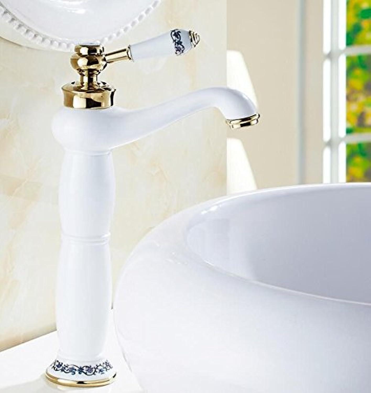 Iaofanmaoy Bad Armatur Waschtisch Armatur Waschbecken aus Weiem Porzellan Mixer Wasserhahn Messing Heie und Kalte Retro Armaturen, Lang