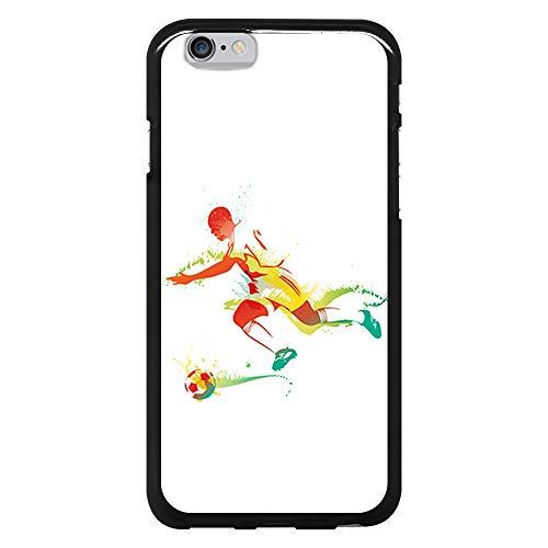 BJJ SHOP Custodia Nera per [ iPhone 6 / iPhone 6s ], Cover in Silicone Flessibile TPU, Design: Calciatore, Dribbling con Palla