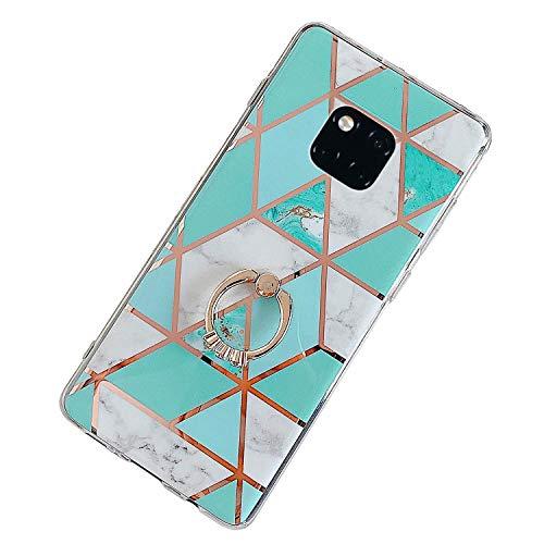 Herbests Kompatibel mit Huawei Mate 20 Pro Hülle Bunt Marmor Muster TPU Silikon Handyhülle Glänzend Bling Glitzer Diamant Strass Ring Halter Ständer Crystal Case Tasche Schutzhülle,Grün