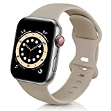 ZALAVER Bands Compatible with Apple Watch Band 38mm 40mm 42mm 44mm, Soft Silicone Sport Replacement Band Compatible with iWatch Series 6 5 4 3 2 1 Women Men Nut Brown 42mm/44mm S/M