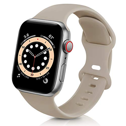 ZALAVER Bands Compatible with Apple Watch Band 38mm 40mm 42mm 44mm, Soft Silicone Sport Replacement Band Compatible with iWatch Series 6 5 4 3 2 1 Women Men Nut Brown 38mm 40mm S M