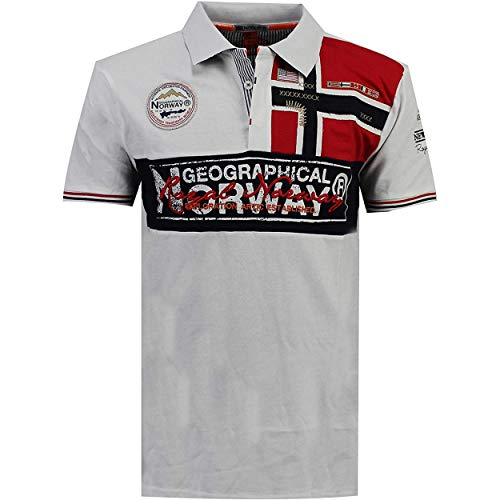 Geographical Norway KIDNEY MEN - Polo Shirt Uomo Stampato - Cotton Button Down Maniche Corte Uomo - Casual Shirt Tops Regular Fit Style Classic BIANCO M