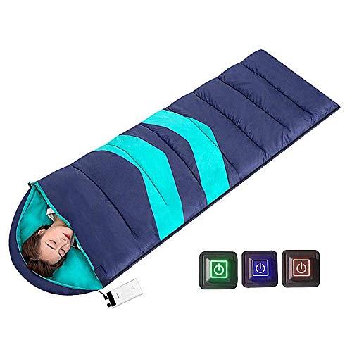 XXW Beheizter Schlafsack für Erwachsene Kinder Outdoor Rechteckig 3 Optionale Temperatur mit USB-Heizdecke Beheizte Decke für Winter Camping Angeln