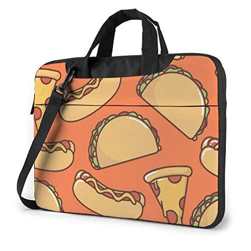 Fast Food Pizza Hot Dog Taco Patten 15.6 in Laptop Bag Computer Protective Cover Handbag Shoulder Bag