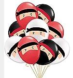 Kreatwow 30 Ballons de Ninja, Ballons en Baudruche Rouge Noir Blanc Imprimé Dessin de Samouraï pour Anniversair, Fête à Thème de Katana, Bushido, Judo