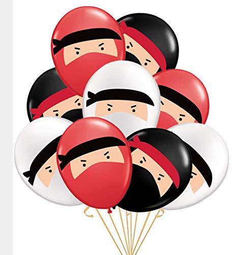 30-Pack Globos de Ninja, Globos de látex Impresos en Blanco y Negro Rojo, Cumpleaños de Ninja, Karate, Judo, Fiesta temática de Artes Marciales