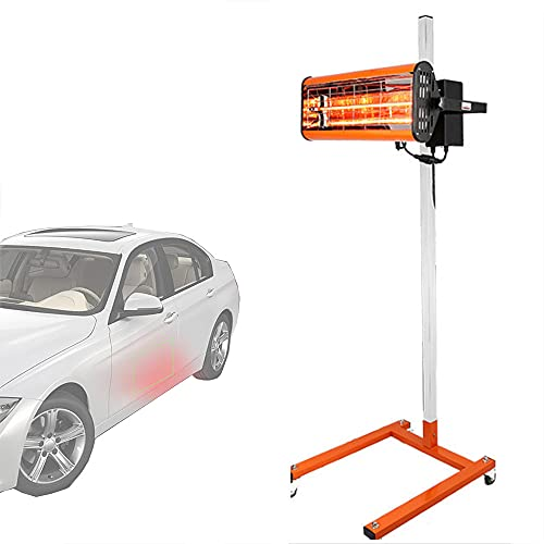 Lámpara de curado de pintura, lámpara de reparación automática infrarroja para hornear de 1000 W, cabina de pulverización de luz de calefacción infrarroja de onda corta con estructura de soporte