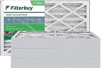 FilterBuy 16x25x4 Air Filter MERV 13, Pleated HVAC AC Furnace Filters (4-Pack, Platinum)