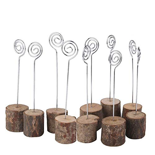 10 Pack Rustic Real Wooden Base Place Card Photo Holders Iron Wire Picture Picks Clip Card Holder Stand for Wedding Table Name Number Memo Party Decorations