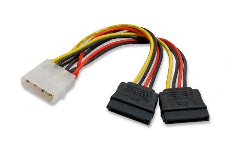 Syba Molex 6 inch 4 Pin Male to 2x 15 Pin SATA Power Cabl