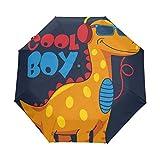 Lindo paraguas de viaje compacto de dinosaurios de dibujos animados, para exteriores, lluvia, sol, coche, toldo reforzado, protección UV, mango ergonómico, apertura y cierre automático
