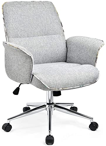 Comhoma Office Chair, Modern Home Office Chair Living Room Fabric, High-Back Upholstered Swivel Desk Chair with Arms for Small Space Study Bedroom, Gray