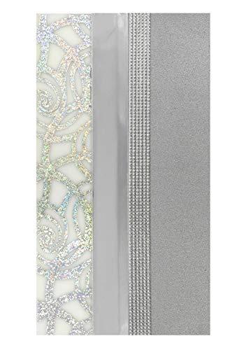 Pracht Creatives Hobby 7074-20925 Verzierwachsplatten Mix grau / silber, 3 halbe Wachsplatten, ca. 200 x 50 x 0,5 mm und ein Wachsstreifen, zum Modellieren und Verzieren von Kerzen