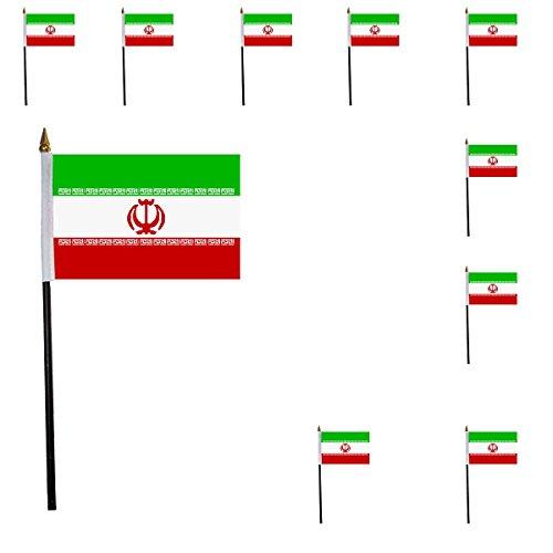 Sonia Originelli 10er Set Mini Flaggen WM Fußball 10x15 cm Party Anfeuern Fahnen Farbe Iran