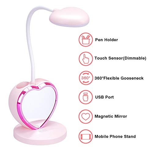 LED Desk Lamp for Girls, Rechargeable LED Desk Lamp with USB Charging Port & Pen Holder, Eye-Caring Dimmable Table Lamp with 2 Color Modes, Multifunctional Study Desk Light Pink for Kids, Teens.