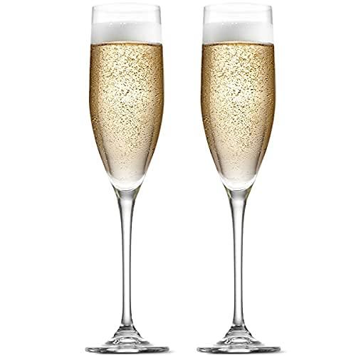 Godinger Champagne Flutes, Champagne Glasses, European Made - 8oz, Set of 2