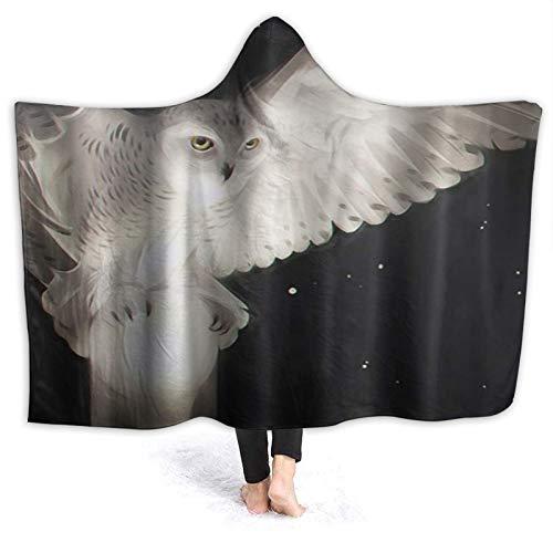 HATESAH Tragbare Hoodie Decke,Eule Tier Skulptur Cartoon Sternenhimmel Hintergrund...