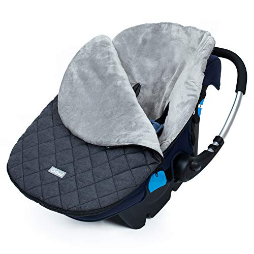 Orzbow Canopy Style Bunting Bag to Protect Baby from Cold and Winter Weather in Car Seats and Strollers, Blackout, Infant (Dark Grey)